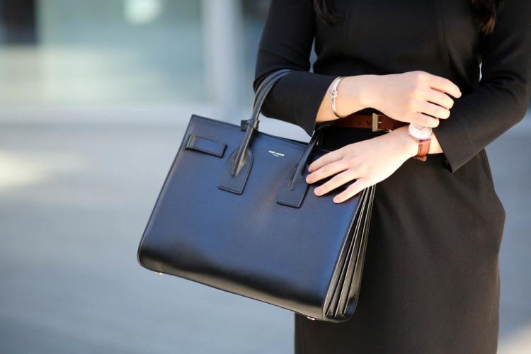 Saint+Laurent+Sac+de+Jour+bag+-+Daniel+Wellington+watch+-+MM.Lafleur+dress+&+belt